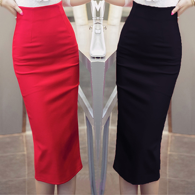High Waist Black Red Long Pencil Skirt Office Las Maxi Formal Elegant Women Skirts Plus Size Saias Sociais 5xl In From S