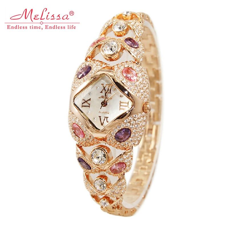 Top Melissa Lady Wrist Watch Quartz Fashion Women Dress Bracelet Rhinestone Shell Luxury Crystal Party Bling