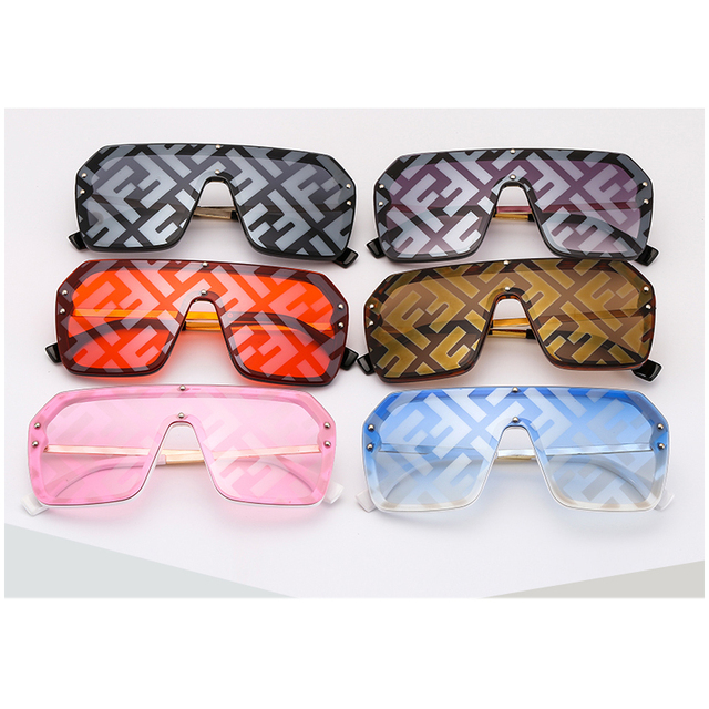 Women Sunglasses Oversized Printing Letters