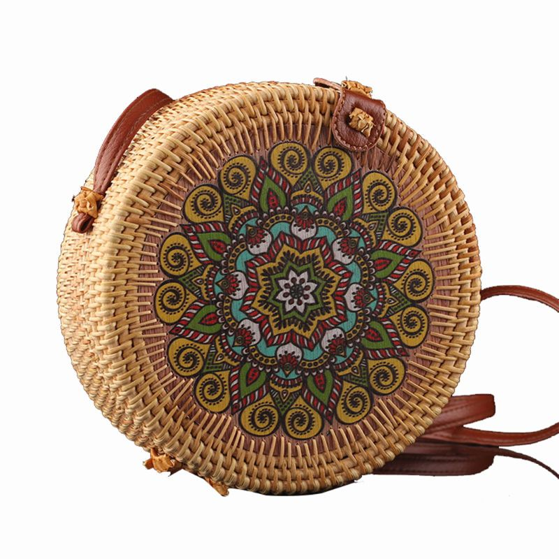 Fashion New Vintage Round Handmade Rattan Crossbody Shoulder Bag Straw Handbag Clutch Purse for Women Girls Beach Party Supplies