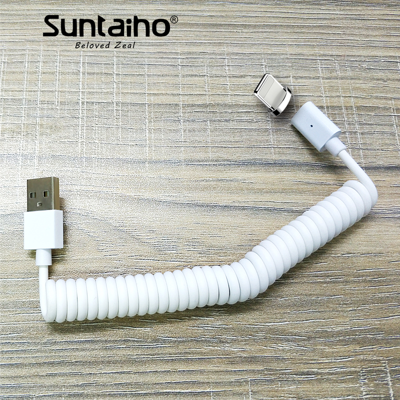 Suntaiho Retractable Spring Magnetic USB Cable for iphone X 5s 8plus for Galaxy s9 S8 Magnetic Spring cable Data Sync USB Cable ...