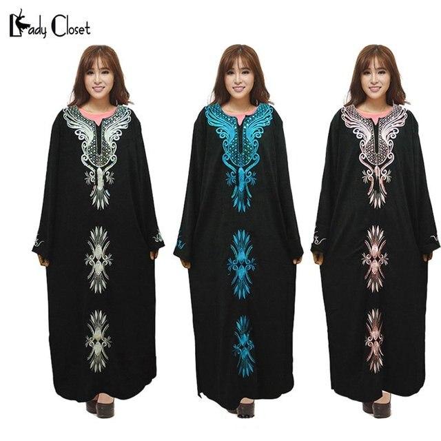 Турецкие женщины одежда абая Мусульманские Платья Одежды Вышивка Abayas Исламская Одежда Для леди Дубай Кафтан Jilbabs Макси Платье