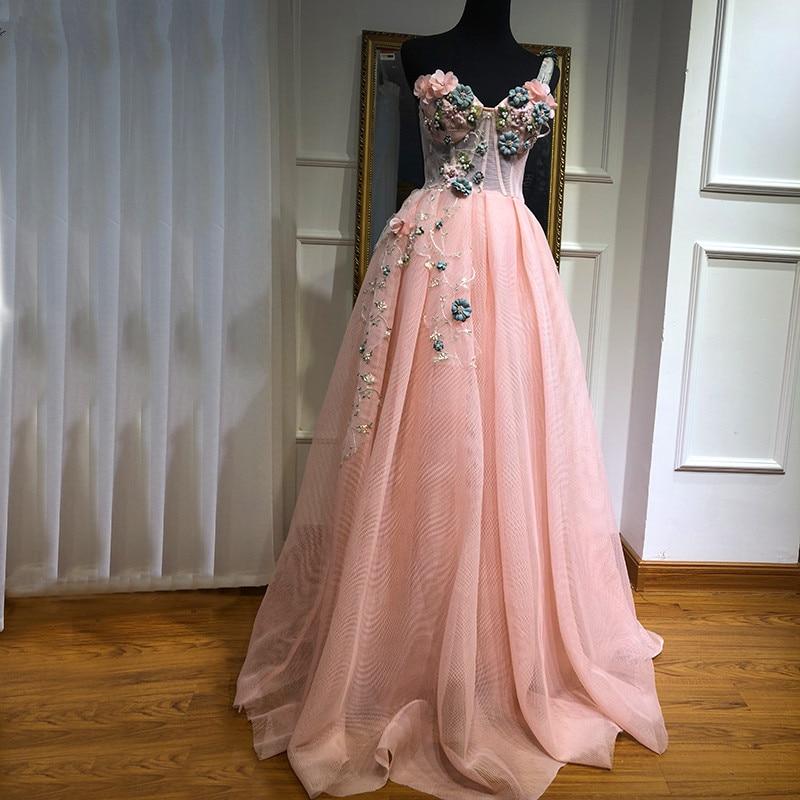 Pink Muslim Evening Dresses 2019 A-line One-shoulder Tulle Pearls Long Islamic Dubai Saudi Arabic Long Formal Evening Gown