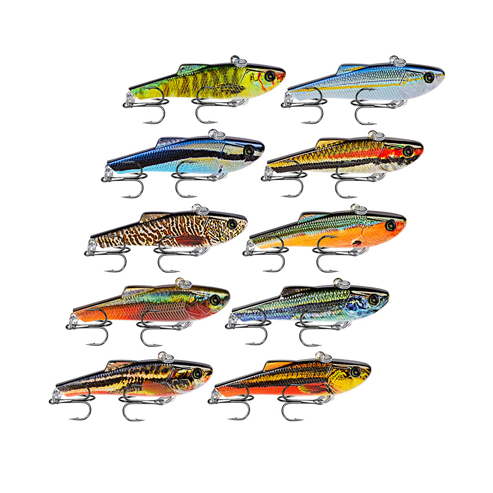"""10PC Pencil Fishing Lures VIB Bait 70mm/7g Fishing Tackle 8# Hooks 3D Eyes Bass 0.25oz/2.76"""" Baits 10 Colors Style Top"""