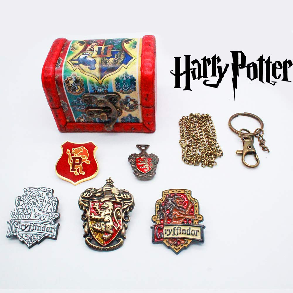 Giancomics Harri Potter Set Alloy Keychain+Necklace+Exquisite Box Collection Gryffindor Hufflepuff Ornament Hot Birthday Gifts