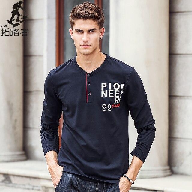 Pioneer Camp camisa Longa da luva T dos homens roupas de marca de alta qualidade Nova chegada da Primavera outono Moda Casual Masculino T-Shirt 622143