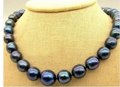 Longueur nouveau AA + 10-11mm collier de perles naturelles noires de tahiti 17 pouces de LONG joli bijoux de mariage pour femmes joli!