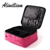 Professional Women Red Cosmetic Bag Portable Travel Cosmetic Organizer Zipper Wash Makeup Bag Designers Trunk Make