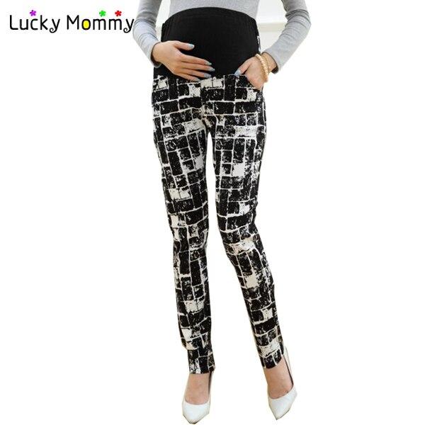 Черный карандаш для беременных женщин осень весна беременность одежды беременным брюки с высокой талией живота одежда брюки