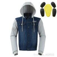 Dain Motorcycle Sweatshirt With Protector's Armor Guard Motorsport Hoodies Cold proof Denim Motorcycle Jacket Moto Chaqueta