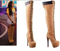 Real Women fashion dark yellow suede 16cm high heel lace up over the knee boots high platform buckles fastening stylish shoes