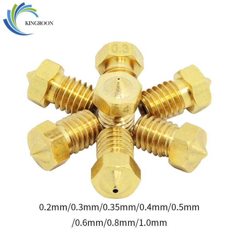 10pcs V5 V6 Nozzle 0.2mm 0.3 0.4mm 0.5 0.6 0.8 1.0mm 3D Printer Parts M6 Threaded Full Metal For 1.75mm Filament Extruder Part 110pcs V5 V6 Nozzle 0.2mm 0.3 0.4mm 0.5 0.6 0.8 1.0mm 3D Printer Parts M6 Threaded Full Metal For 1.75mm Filament Extruder Part 1