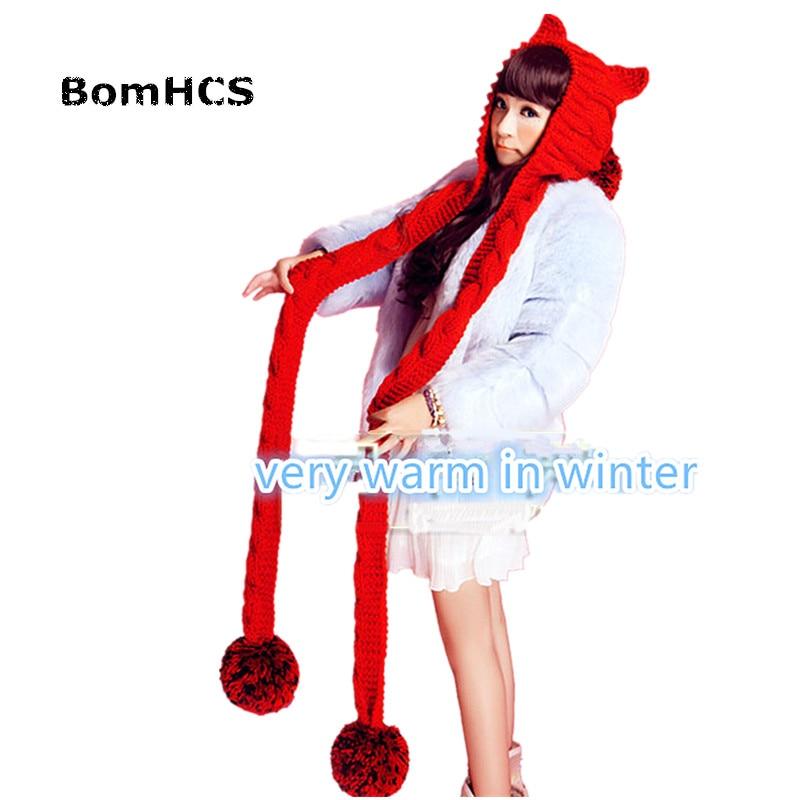 BomHCS женский толстый кабель ручной вязки большая шапочка с помпонами кошачьи уши теплая шапка с шарфом - Цвет: Красный