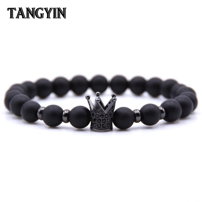 132e392d1 Trend Men Charm Bracelet Men Homme Femme Jewelry Black Gold Crown Spartan  Helmet Natural Stone Beaded Bracelets For Women Gifts