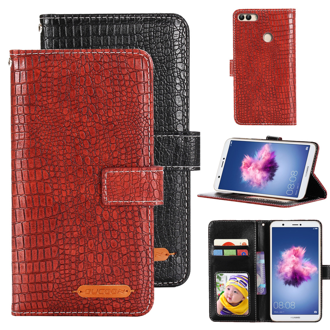 GUCOON Crocodile Wallet for Huawei <font><b>P</b></font> <font><b>Smart</b></font> PSmart Enjoy 7S Case Cover Luxury PU Leather Phone Cover Bag Quality Hand Purse image