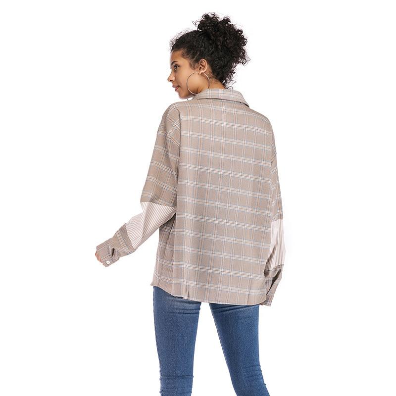 bfz003 xl 2019 Turn M À Chemises Color Femmes Cru Longues Printemps down Impression Plaid Manches Collier Picture De Jl Automne TTx1AOf