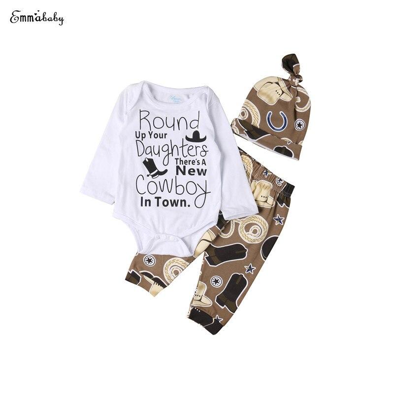 0-18 Mt Neugeborenes Baby Mädchen Langarm O-ansatz Dachte Taste Cowboy Brief Strampler Tops Print Hosen Hüte 3 StÜcke Outfit Herbst