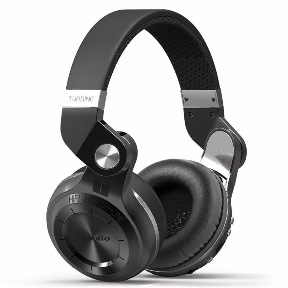 Bluedio T2 + auriculares Bluetooth de oído inalámbrico plegable auriculares con micrófono BT Radio FM 4,1 tarjeta SD auriculares