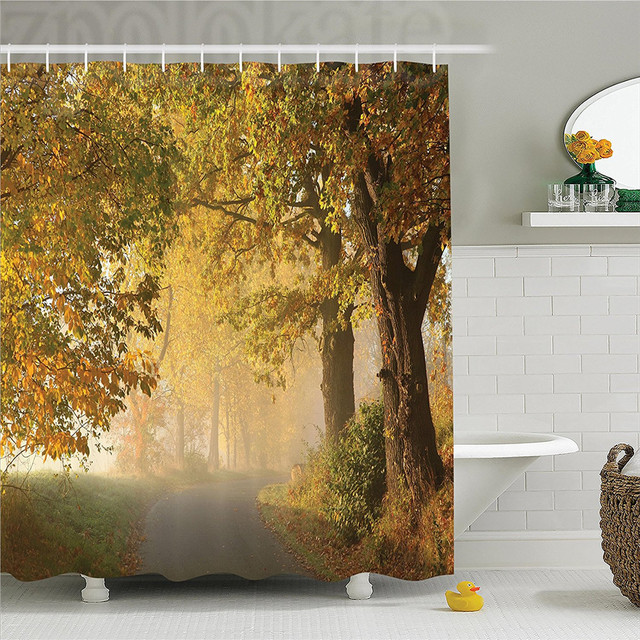 Woodland Decor Shower Curtain Set Rural Road In A Misty Autumn Morning Countryside Pathway Scenery Natural