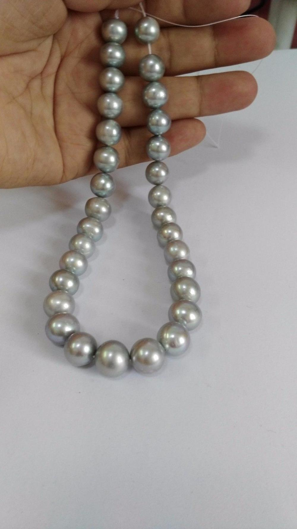 elegant 9-10mm south sea round silver grey pearl necklace 18inch 925 silver gogerous perfect round aaa9 10mm south sea silver grey pearl necklace 18inch selling jewerly free shipping