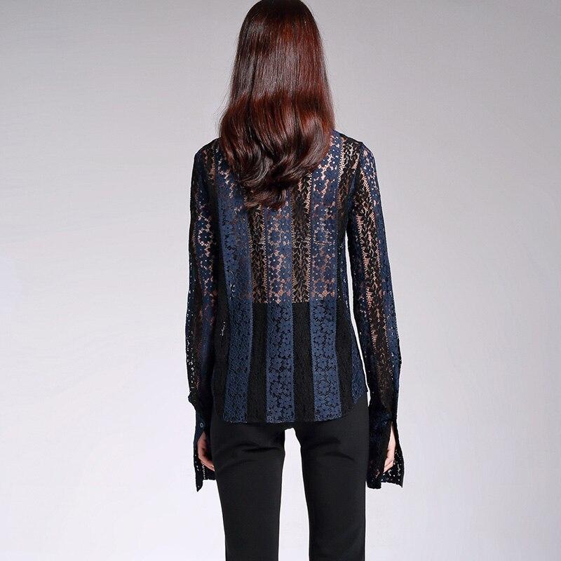 POKWAI 2017 осенние винтажные открытые кружевные рубашки женские топы высококачественная одежда однотонная блузка Топ с отложным воротником и ... - 3