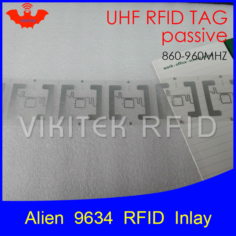 UHF RFID tag Alien 9634 inlay 915mhz 900mhz 868mhz 860-960MHZ Higgs3 EPC Gen2 ISO18000-6c smart card passive RFID tags label 500pcs rfid one off coated paper wristbands tag epc gen2 support alien h3 chip used for personnal management