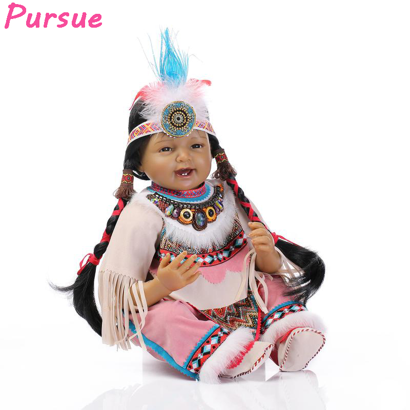 Pursue Indian Black Reborn 55 cm Baby Alive Silicone Reborn Dolls BJD Toys for Girls bebe reborn menina de silicone menina 55 cm pursue baby alive silicone reborn baby dolls for sale toys for children girls boys reborn doll 55 cm bebe reborn menino menina