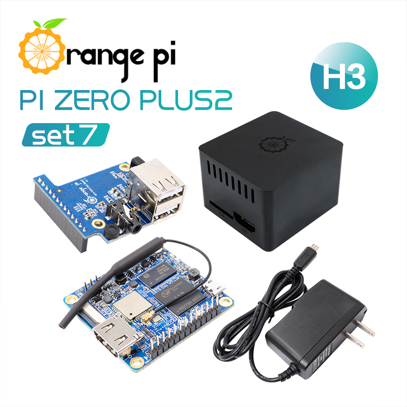 Orange Pi Zero Plus 2 H3 Set 7: Zero Plus 2 H3+Protective Case+Expansion Board+US OTG Power Supply, beyond Raspberry