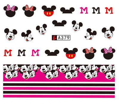 Stickers for Nails Water Decals Mickey Mouse Minnie Nail Sticker Slider Art designs Decorations Manicure Foil Adhesive Pegatinas