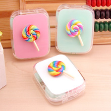 LIUSVENTINA DIY cute Rainbow lollipop contact lenses case container box