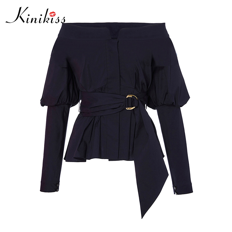 Kinikiss Elegant Slash Neck Off Shoulder Blouses Shirts Sashes Belt Tunic Lady OL Office Blouse Tops Fashion Long Sleeve Blouses