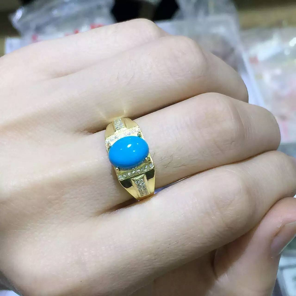 Natural turquoise stone Ring Natural gemstone Ring 925Sterling Silver trendy Luxury large thick heavy men's Party Ring Jewelry trendy fuax turquoise carved rounded rechtangle ring