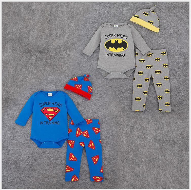 Baby Boys Autumn Kids Superman Batman Clothing Set 3Pcs Cotton Long sleeve infant rompers+trousers+hat Newborn Girls Clothes Set cotton baby rompers set newborn clothes baby clothing boys girls cartoon jumpsuits long sleeve overalls coveralls autumn winter