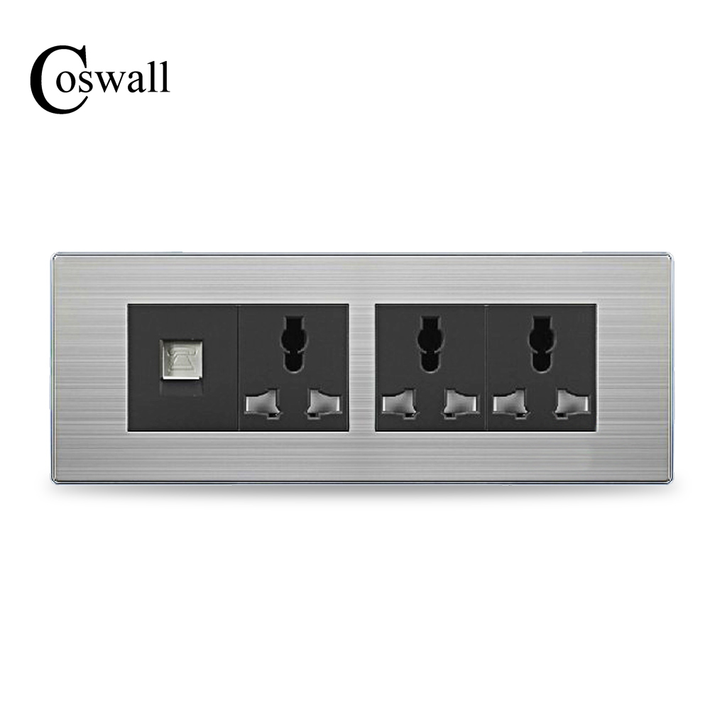 COSWALL Luxury Universal Power Socket 3 Way Wall Outlet With Telephone Port Stainless Steel Panel 197*72mmCOSWALL Luxury Universal Power Socket 3 Way Wall Outlet With Telephone Port Stainless Steel Panel 197*72mm