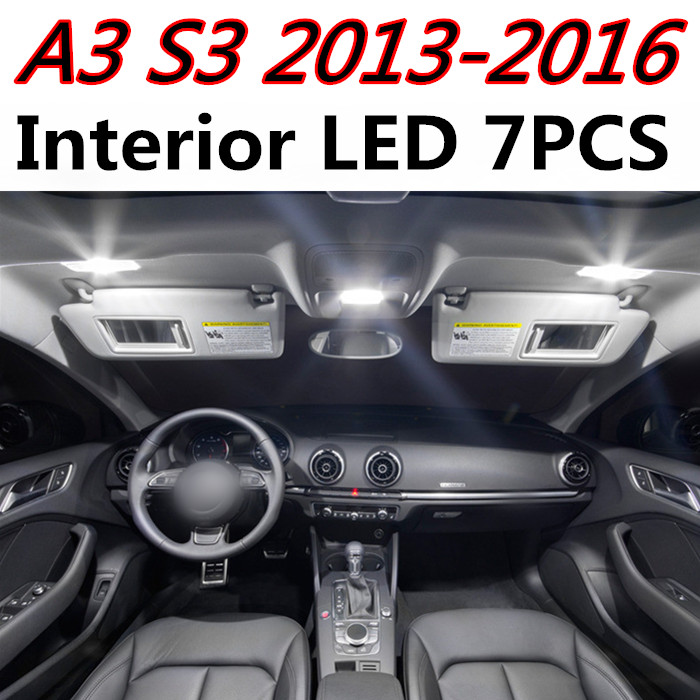 7pcs free shipping high quality Error Free Auto LED Light Kit Colorful T10 Package For Audi A3 8V S3 2013-2016 car accessories 2013 r3 with keygen vd tcs cdp pro plus bluetooth auto diagnostic tools full all 8 car cables dhl free shipping