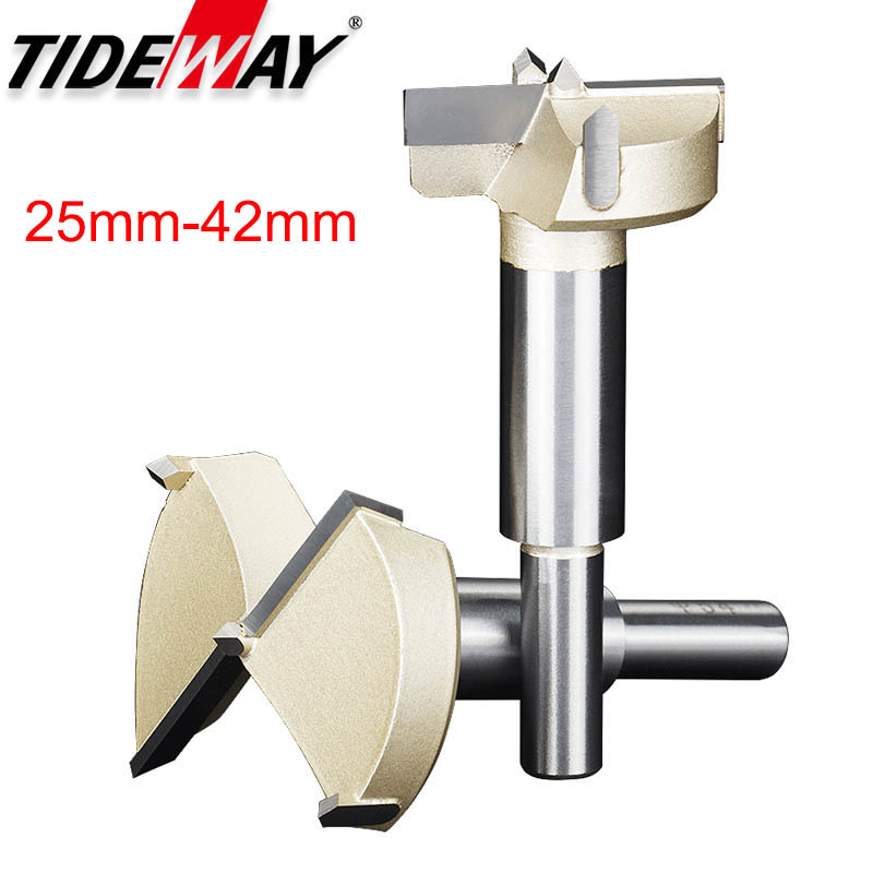 Tideway 1pcs 25mm-42mm Forstner Tips Woodworking Tools Set Wood Boring Drill Bits Self Centering Hole Saw Cutter