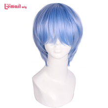 L email شعر مستعار إيفا Ayanami ري شعر مستعار تأثيري s قصيرة الأزرق شعر مستعار تأثيري مقاومة للحرارة الاصطناعية الشعر