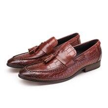 Крокодил зерна моды Черный/коричневый загар лето мужские мокасины обувь из натуральной кожи повседневная обувь мужская обувь на открытом воздухе с кисточкой