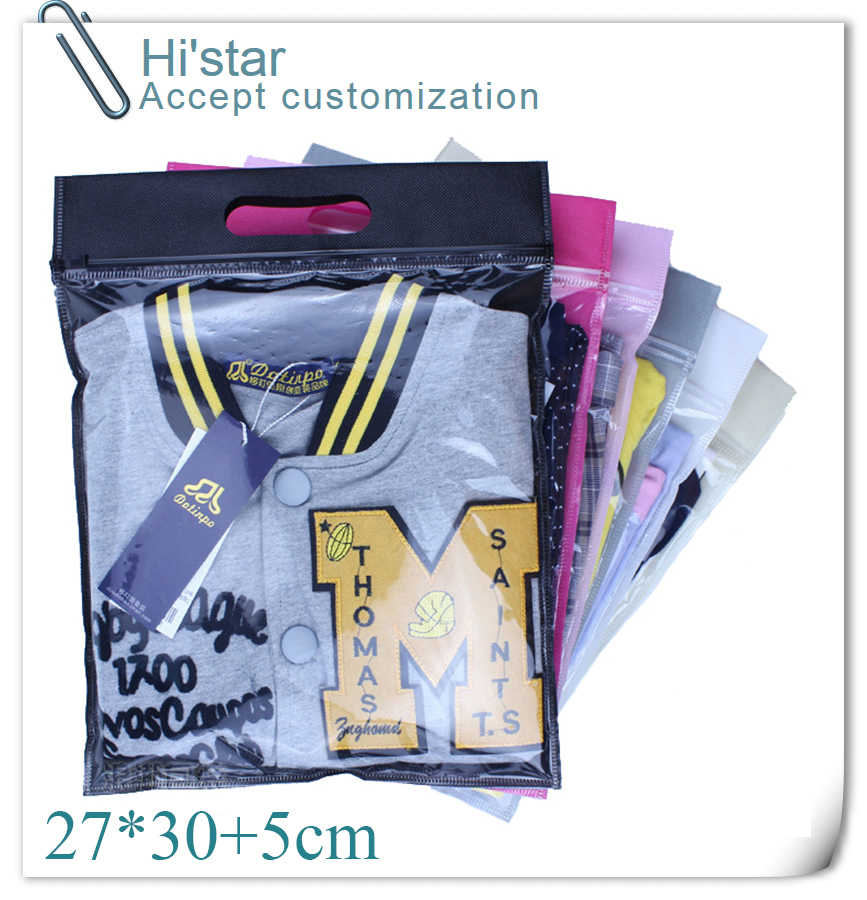 27*30+5cm 20 pieces Clothes Zip Lock Plastic Bag Clear resealable Bag Self Sealing Bag half clear half non-woven bag with handle