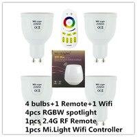 2.4G RGBW RGBWW GU10 AC85-265V Regulável LED Spot Light Bulb Lamp/2.4g grupo sem fio dimmer remoto/mi luz wifi controlador