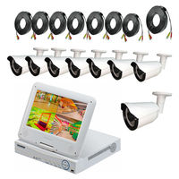 JSA 8CH DVR CCTV System 8PCS 960P HD Outdoor Camera with 10 inch LCD Monitor P2P Security Camera Kit