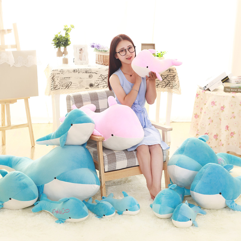 hot sale High-quality Cute dolphins pillow doll plush toys dolphins doll present lovers toys for childrens Girls Gifts