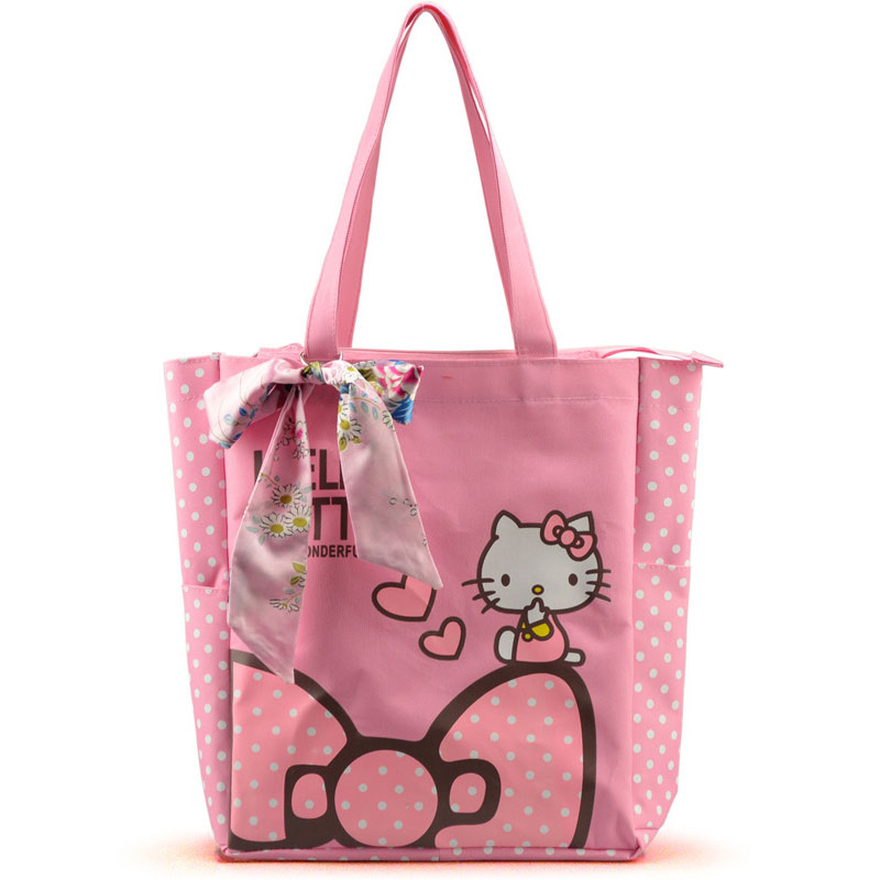 Women Casual Tote Designer Lady Large Cute Hello Kitty Handbags Bolsas Multi-purpose Shopping Bag Kids Lunch Bags with Bowknot sweet women s tote bag with metallic and bowknot design