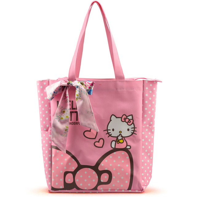 Women Casual Tote Designer Lady Large Cute Hello Kitty Handbags Bolsas  Multi-purpose Shopping Bag Kids Lunch Bags with Bowknot 99a755fdf3a31