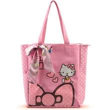 Women Casual Tote Designer Lady Large Cute Hello Kitty Handbags Bolsas Multi purpose Shopping font b