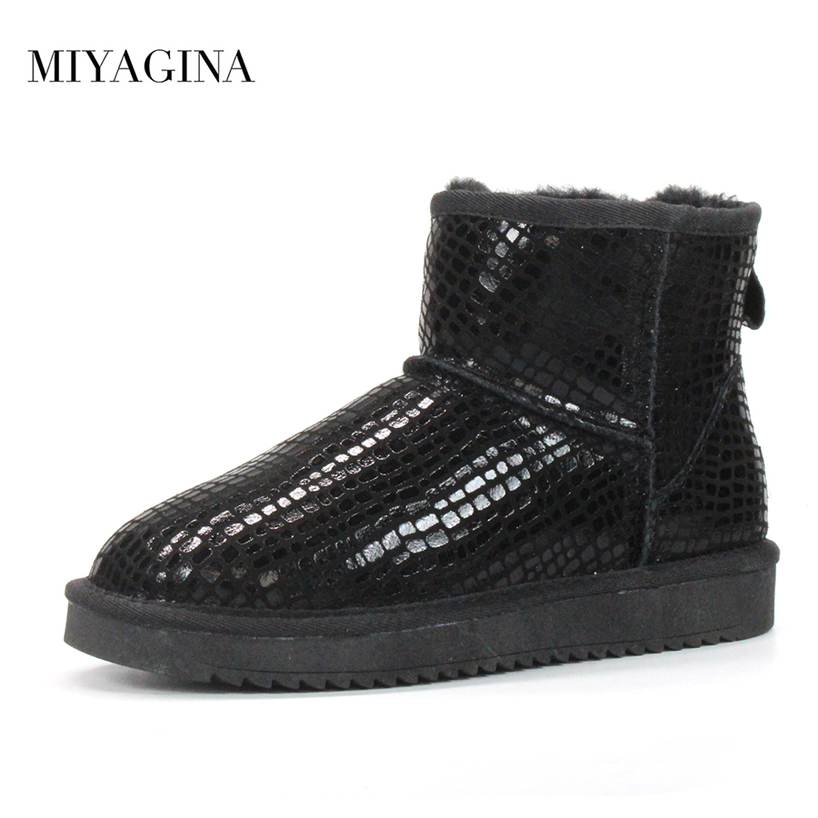 Top Quality 2018 New Winter Women Boots Fashion Genuine Cowhide leather Snow Boots 100% Natural Fur Woman Warm Ankle Shoes serene handmade winter warm socks boots fashion british style leather retro tooling ankle men shoes size38 44 snow male footwear