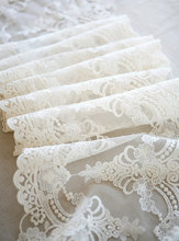 Vintage style cotton lace trim with delicate floral embroidery in ivory color , bridal veil wedding gown curtain lace 22 cm