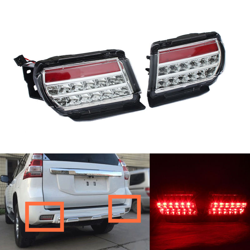 Rear Bumper Lights Rear Fog Lamp Light Tail Lamp for Toyota Prado 2010 2011 2012 2013 2014 2015 2016 rear fog lamp spare tire cover tail bumper light fit for mitsubishi pajero shogun v87 v93 v97 2007 2008 2009 2010 2011 2012 2015