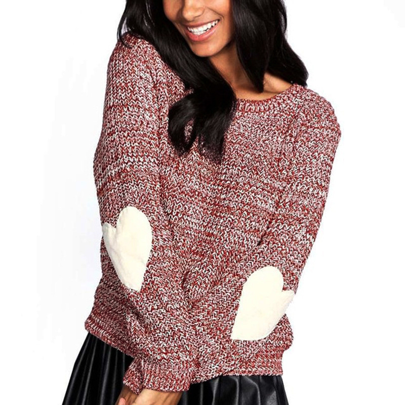 new autumn and winter cute casual women sweater long sleeve love heart O neck pullover knit female sweater in Pullovers from Women 39 s Clothing