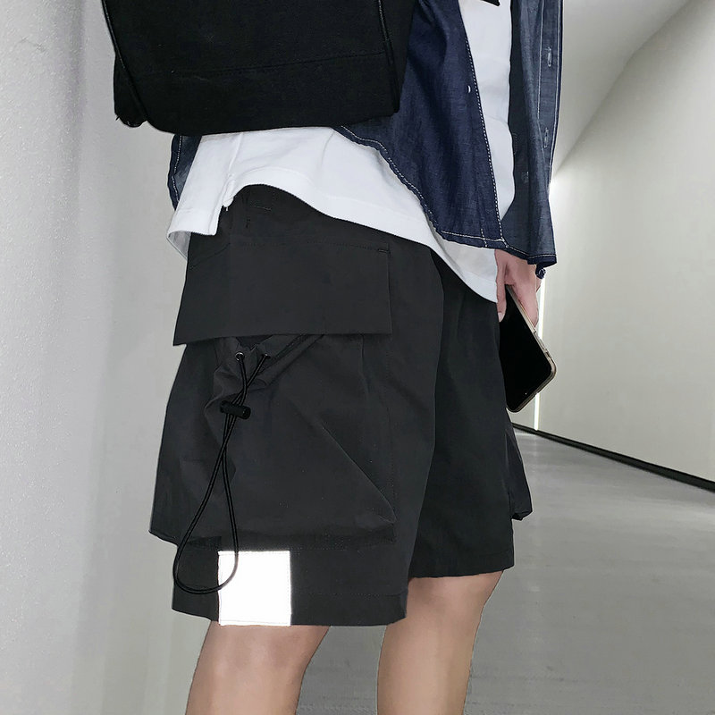 Streetwear Summer Casual Shorts Men Side-pockets Bermuda Hip Hop Cargo Shorts Knee Length Black Reflective Men's Shorts